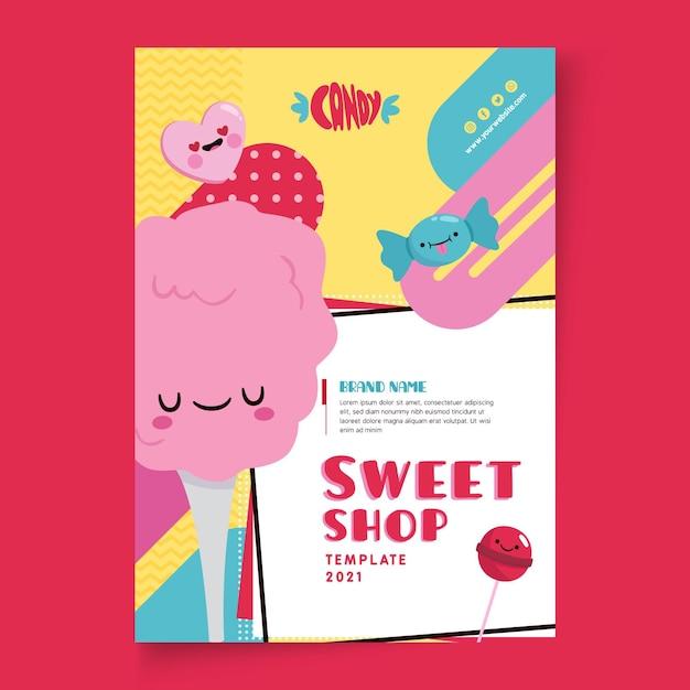 Candy shop poster sjabloon Gratis Vector