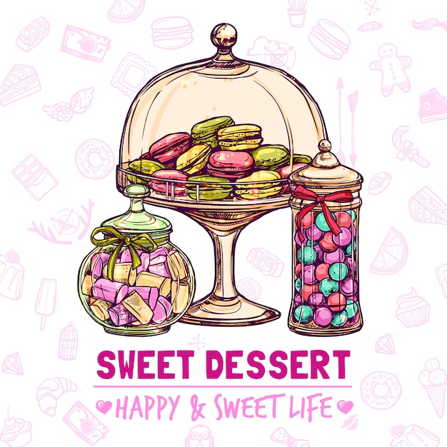 Candy shop-poster Gratis Vector