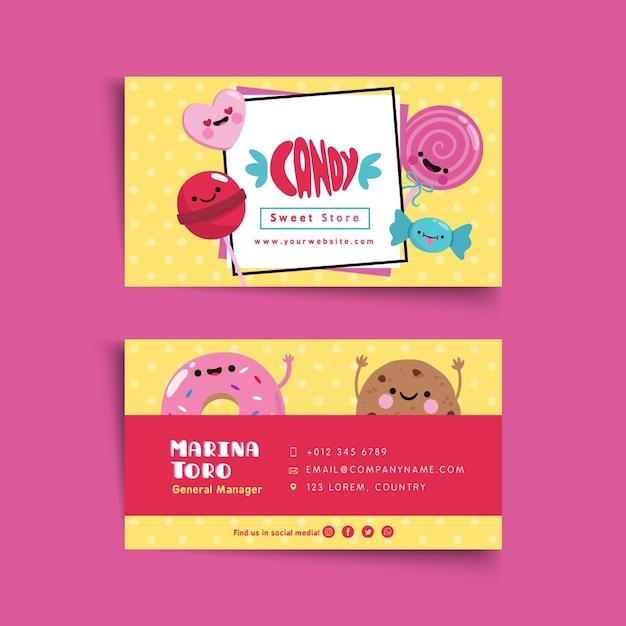 Candy shop visitekaartjesjabloon geïllustreerd Premium Vector