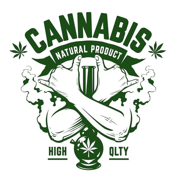 Cannabis embleem. groen zwart-wit embleem met gekruiste handen, waterpijp en rook op wit. rastaman symbolen. vector kunst. Premium Vector