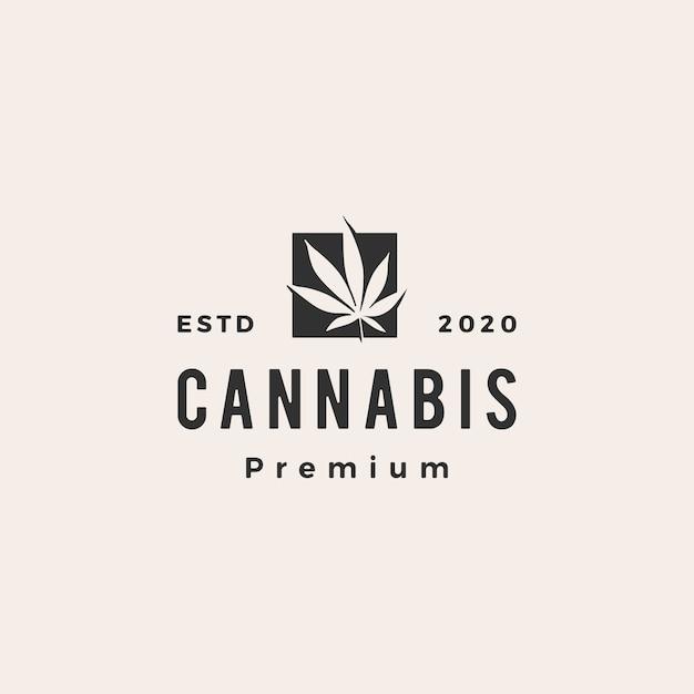 Cannabis hipster vintage logo pictogram illustratie Premium Vector