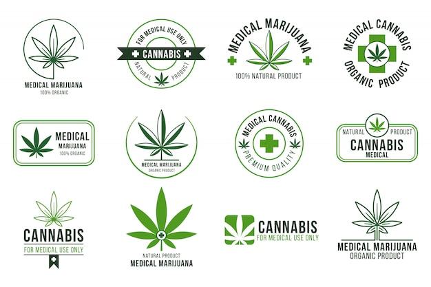 Cannabis label. medische marihuanatherapie, legale hennepplant en medicijnplanten. roken wiet badges geïsoleerde set Premium Vector
