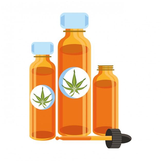 Cannabis martihuana sativa hennep cartoon Premium Vector