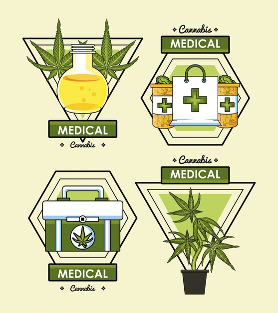 Cannabis medisch concept Premium Vector