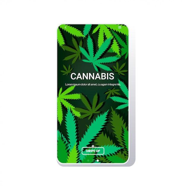 Cannabis of marihuana laat ruimte voor mobiele kopie van het scherm over Premium Vector