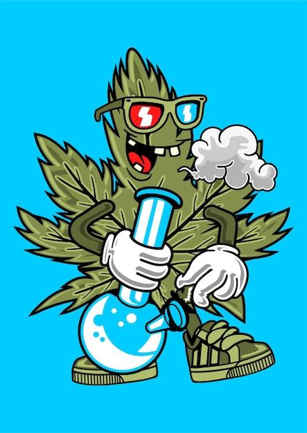 Cannabis rookvrije illustratie in de hand getekend Premium Vector