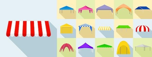 Canopy icons set, flat style Premium Vector