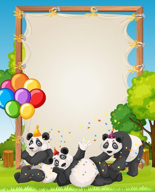 Canvas houten frame sjabloon met panda's in feestthema op bos achtergrond Premium Vector