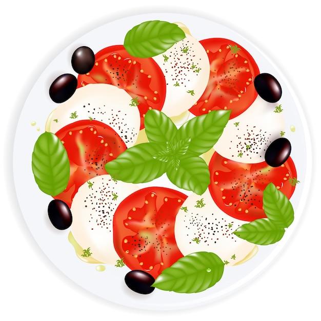 Caprese salade met mozzarella, basilicum, zwarte olijven en olijfolie Premium Vector