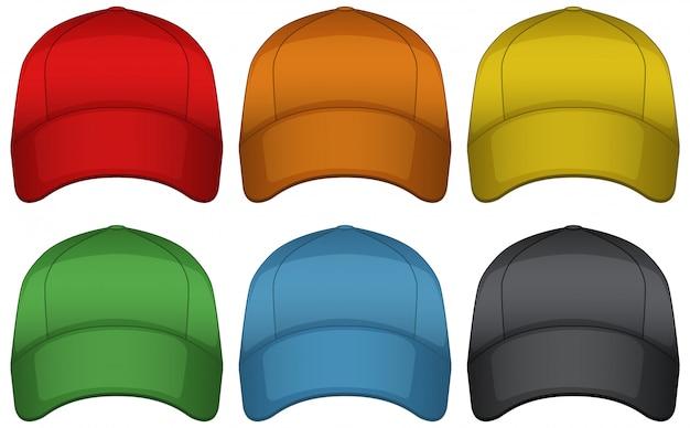 Caps in zes verschillende kleuren Gratis Vector