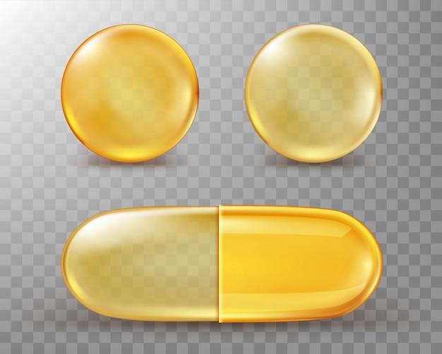 Capsules met olie, gouden ronde en ovale pillen. Gratis Vector