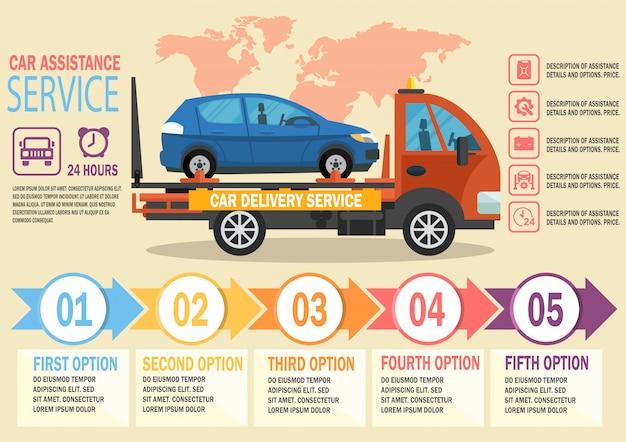 Car assistance service. vector vlakke afbeelding. Premium Vector
