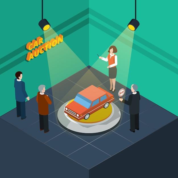 Car auction isometric Gratis Vector