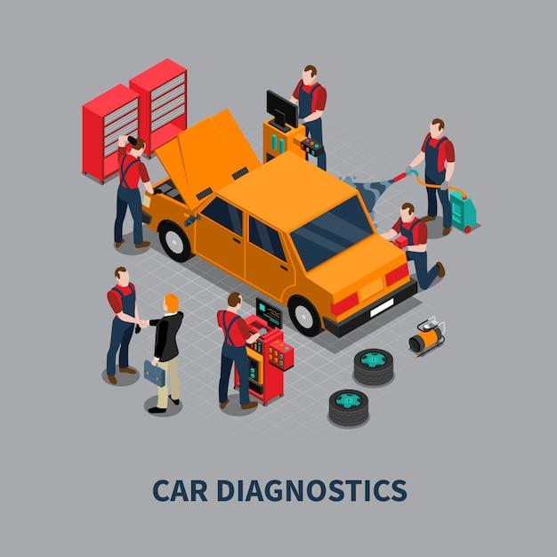 Car diagnostic auto center isometrische samenstelling Gratis Vector