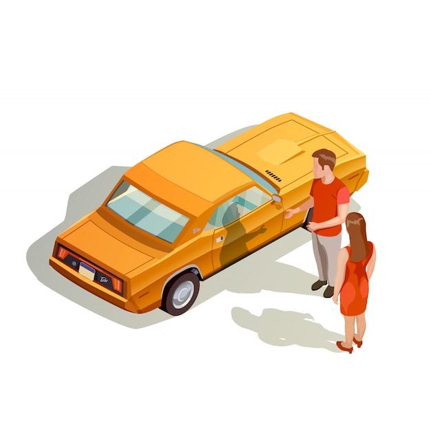 Car kit isometrische samenstelling Gratis Vector