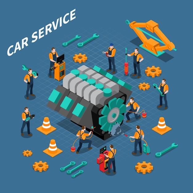Car service isometrische samenstelling Gratis Vector