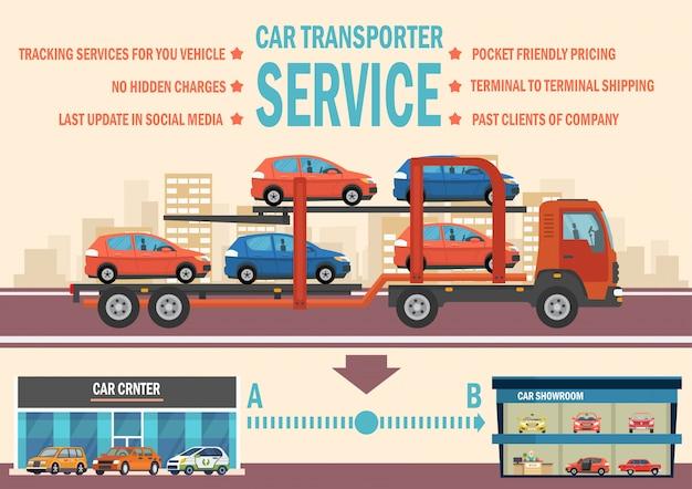 Car transporter service. vector vlakke afbeelding. Premium Vector
