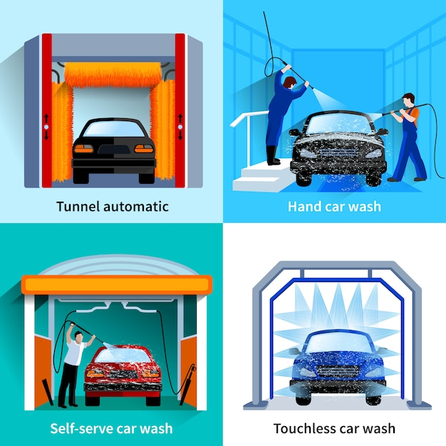 Car wash center automatische aanrakingloze en self-service faciliteiten 4 vlakke pictogrammen vierkant Gratis Vector