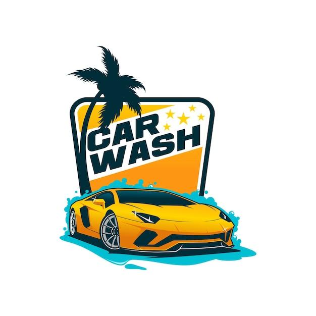Car wash logo sjabloon Premium Vector