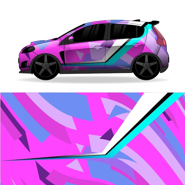 Car wrap geometrisch ontwerp Gratis Vector