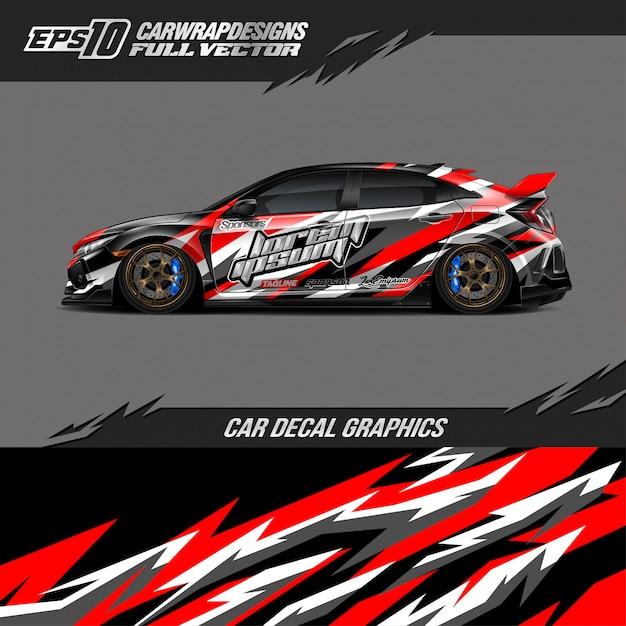 Car wrap ontwerpen voor raceauto Premium Vector