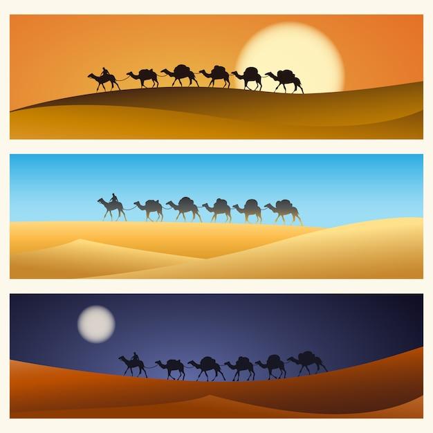 Caravan van kamelen in woestijn Premium Vector