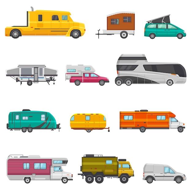 Caravan vector camping aanhangwagen en caravan voertuig voor reizen of reis illustratie Premium Vector
