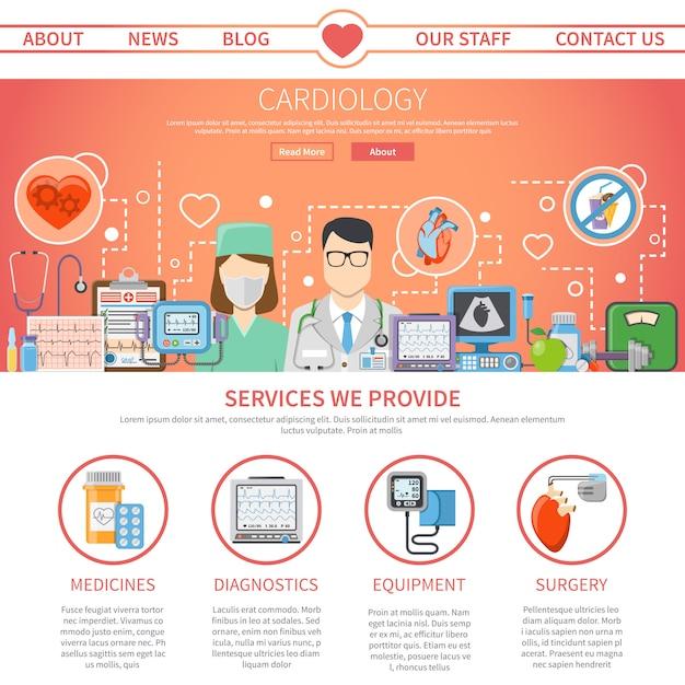 Cardiology flat page Gratis Vector