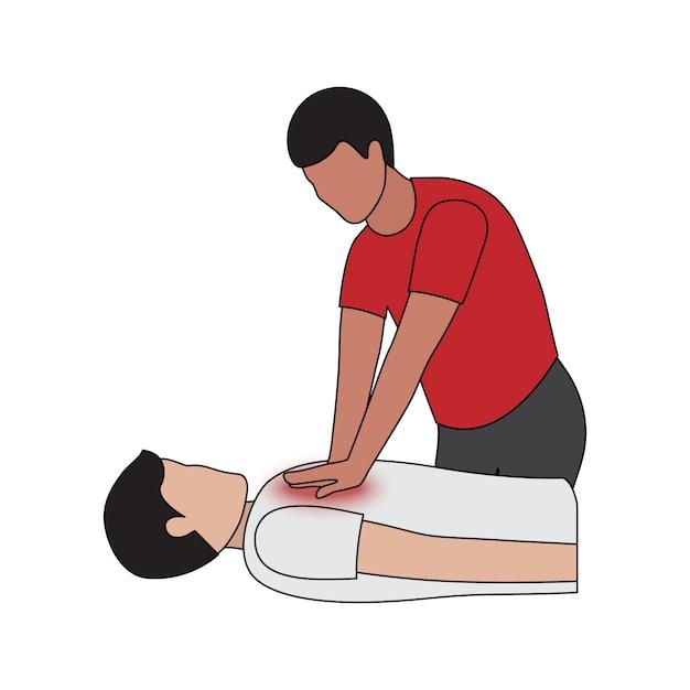 Cardiopulmonale reanimatie bij hartaanval Premium Vector
