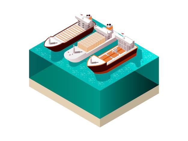 Cargo boats isometrische samenstelling Gratis Vector