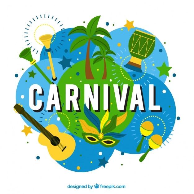 Carnaval achtergrond met typische elementen van brazilië Gratis Vector