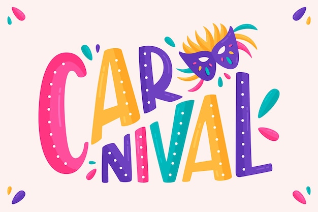 Carnaval belettering op witte achtergrond Gratis Vector