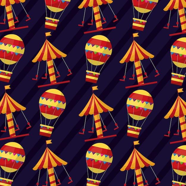 Carnaval carrousel luchtballon grappig patroon Premium Vector
