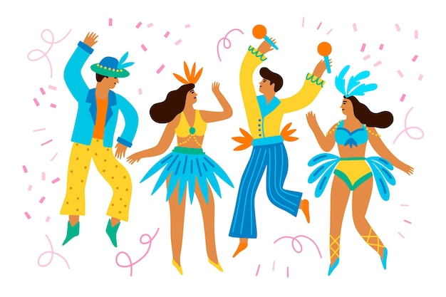 Carnaval dansers collectie Gratis Vector