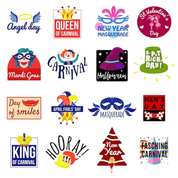 Carnaval-embleem label logo set Premium Vector