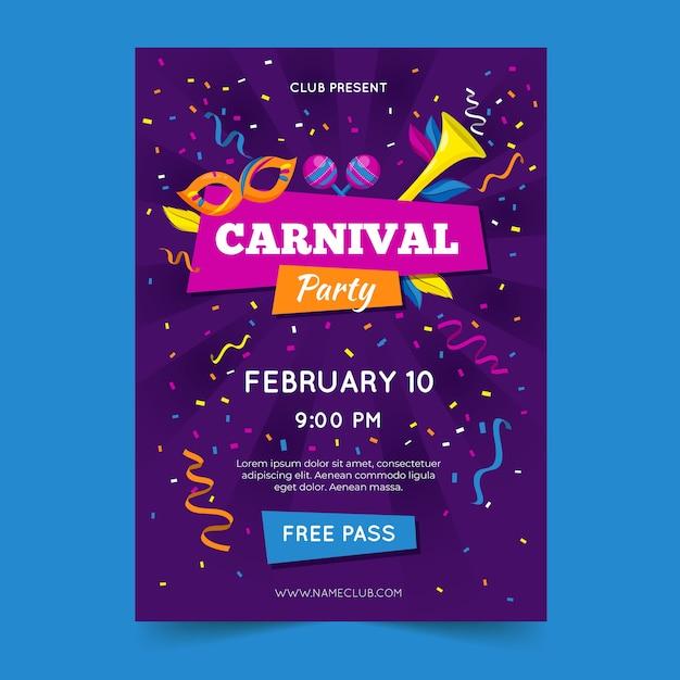 Carnaval feest folder sjabloon Premium Vector