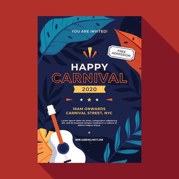 Carnaval feestaffiche in plat ontwerp Gratis Vector