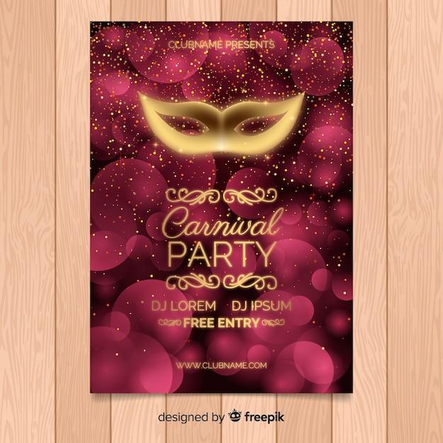Carnaval feestaffiche tempalte Gratis Vector