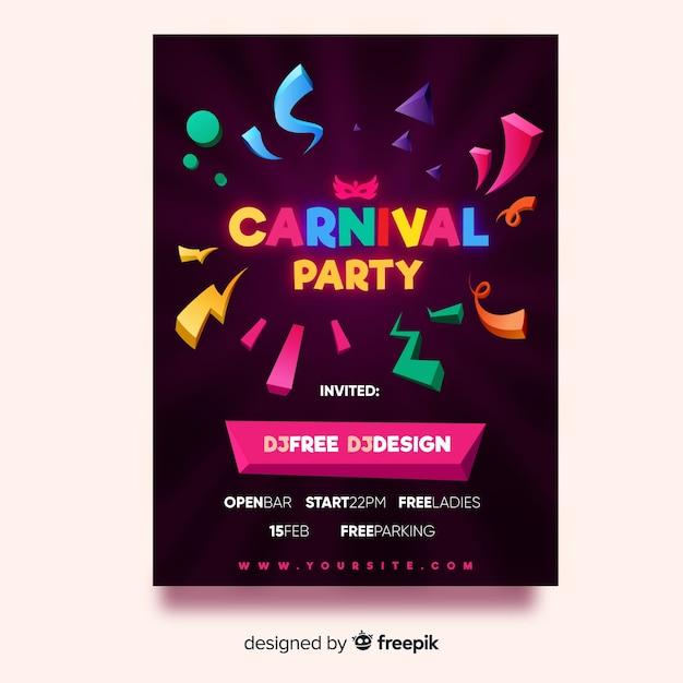 Carnaval feestvlieger Gratis Vector