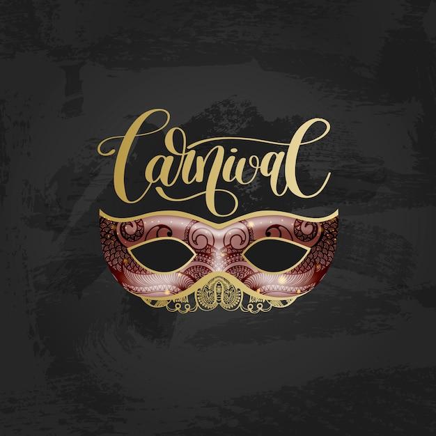 Carnaval-het van letters voorzien embleemontwerp met masker en hand geschreven woord Premium Vector
