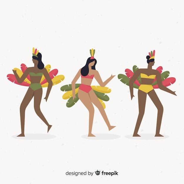 Carnaval-karakters die kostuums dragen Gratis Vector