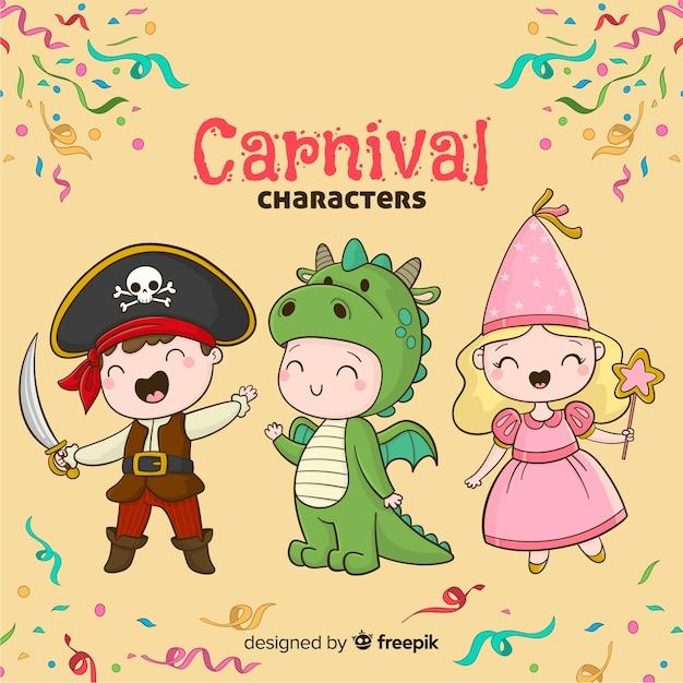 Carnaval-karakters die kostuums dragen Premium Vector