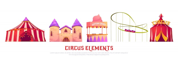 Carnaval-kermis met circus en achtbaan Gratis Vector