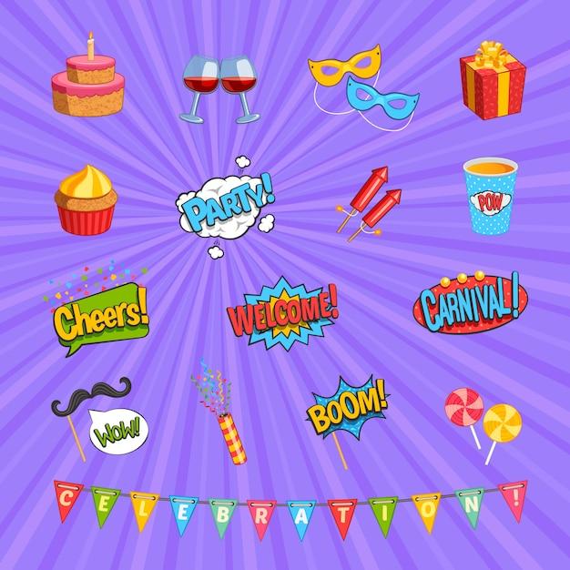 Carnaval-komische elementen instellen Gratis Vector