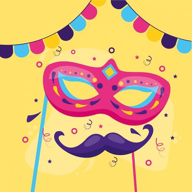 Carnaval masker en snor Gratis Vector