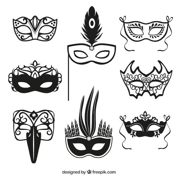 Carnaval masker iconen Gratis Vector