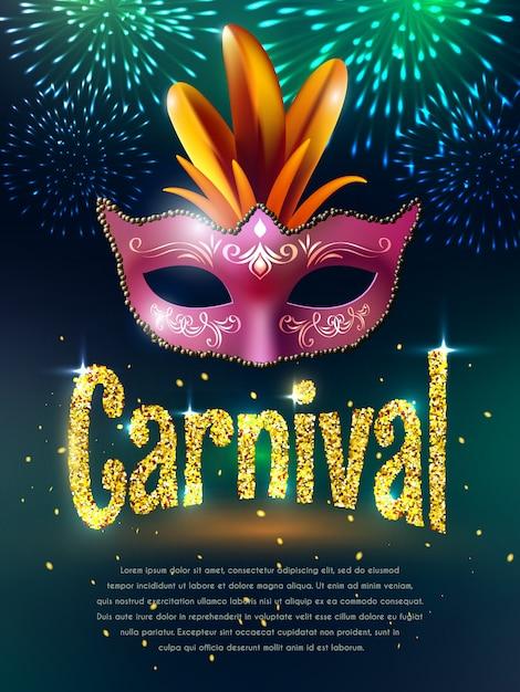 Carnaval maskerade achtergrond poster Gratis Vector