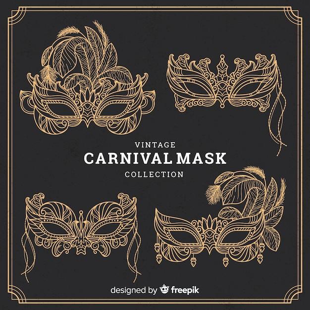 Carnaval maskerverzameling Gratis Vector