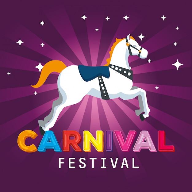 Carnaval-paarddecoratie tot festivalfeestviering Premium Vector