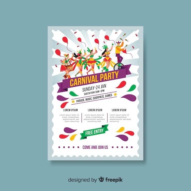 Carnaval partij poster sjabloon Gratis Vector